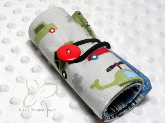 Crayon Roll Holder Organizer with Vehicles, holds 12 crayons. Christmas present, stocking stuffer, Birthday present