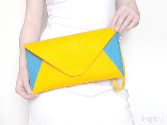 Stylish bright yellow and blue felt clutch