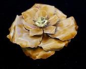 Flower power 1950's pin BIg enamel Champagne rhinestone rose