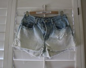 FREE SHIPPING High Waisted Ombre Distressed Denim Shorts
