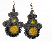 Grey and yellow  hand embroidery soutache earrings.