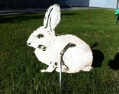 RESERVED For specific Buyer) -Bunny Rabbit - White Recycled Steel- Garden Stake