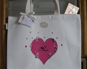 "tote bag, organic cotton, pink  heart design ""Paris little hearts"""