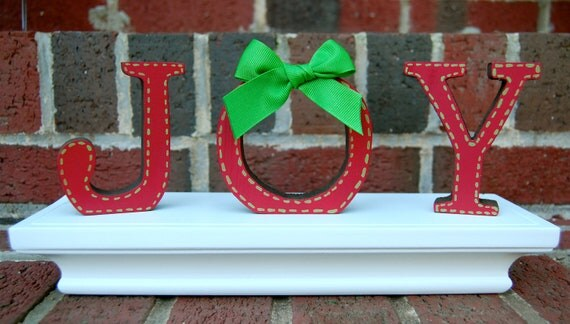 J O Y Handpainted Free- Standing Wooden Letters Set . Red with Green Stitch and Bow