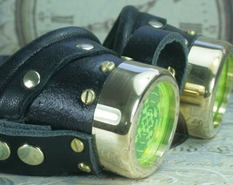 Steampunk, Goggles, black leather,  brass, target etched eye pieces