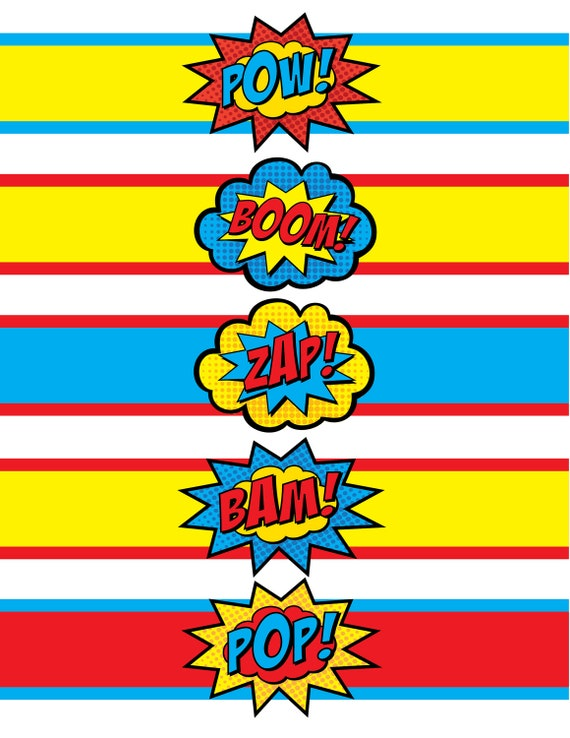 instant download superhero water bottle labels by