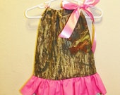 Mossy Oak ruffle  hot pink baby girl 0 3 6 9 12 18 months pillowcase dress camo