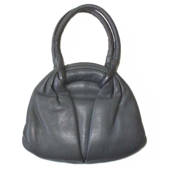 RESERVED for Denise /// 1960s Vintage Handbag Genuine Leather Grey Slouch Mod Bag Purse