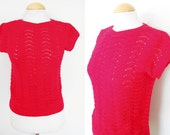 70s Vintage Sweater with Openwork / Red Colour / Vintage Sweater / Size M
