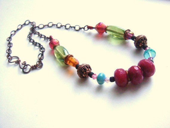 Boho Chic Necklace Rustic Copper Ruby Red Quartz Bohemian Style