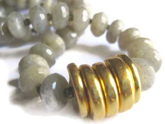 50% OFF Natural Faceted Labradorite, Pyrite and 24-Carat-Gold Dipped Disks Necklace