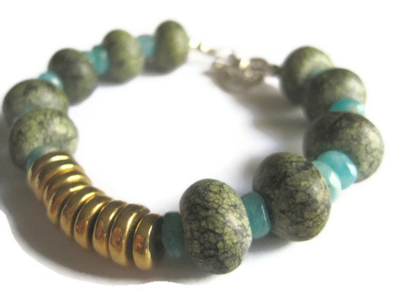 50% OFF 24-Carat Gold-Dipped Donut Disks with Serpentine and Amazonite Bracelet