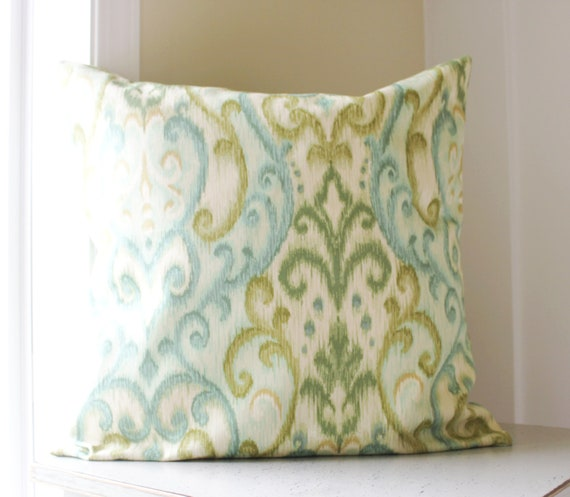 63% OFF - SET of THREE - Teal and green ikat pillow cover - ikat throw pillow - 18x18 pillow cover - renaissance - turquoise - cyan