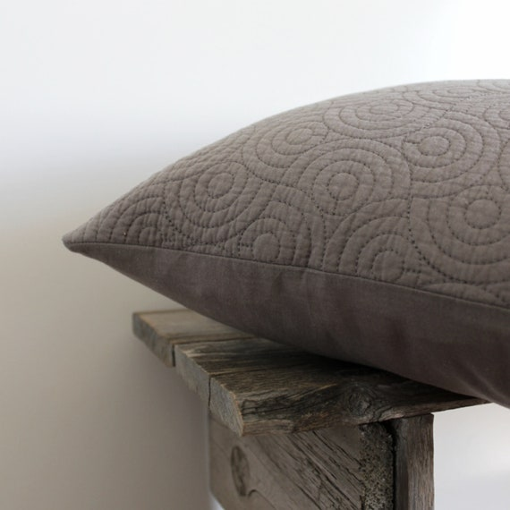 Grey Pillow Cover- Quilted Grey 18 x 18 Textured Pillow Cover