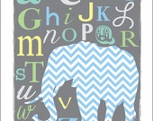 Chevron ABC's Elephant Nursery Print in Gray-Boy