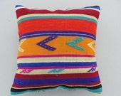 "Modern Bohemian Home Decor,Turkish Cicim Kilim Pillow Cover 16"" X 16"",Tribal Pillow,Kilim Ebroidery Pillow,Vintage Kilim Pillow"