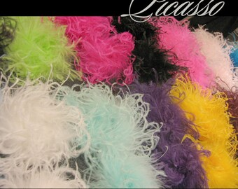 "Curly Ostrich Feather Puff - Qty (1)  - You PICK Color from our Lovely Collection of over 20 Colors - 6""  -"
