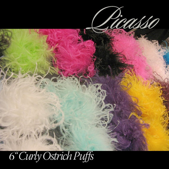 """Curly Ostrich Feather Puff - Qty (1)  - You PICK Color from our Lovely Collection of over 20 Colors - 6""""  -"""