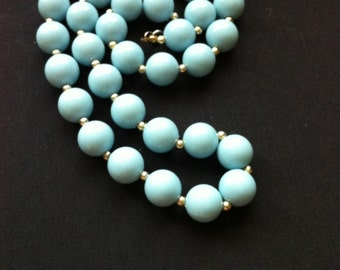 Beautiful Blue Beaded Vintage Necklace