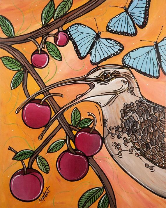 Yellow Bird Illustration - Kitchen Art Print - 5x7 - Nursery and Bedroom Decor - Bird Eating