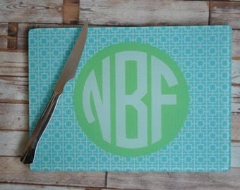 Hostess gift or wedding present, Personalized or Monogrammed Glass Cutting Boards
