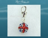 GB Union Jack Flag Shamballa Clip on Charm, Jewellery or Jewelry, Ideal Gifts
