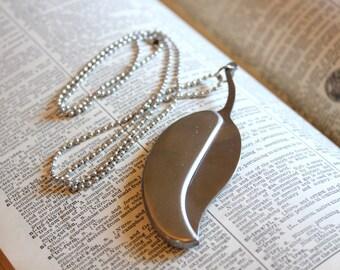Silver Leaf Knife Necklace