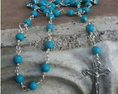 Turquoise Rosary Necklace Sterling Silver