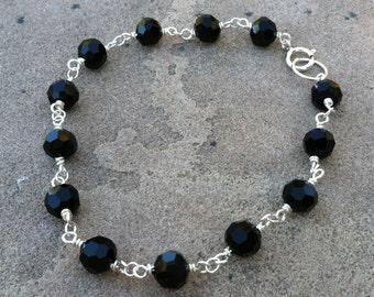 Black Crystal Bracelet Sterling Silver