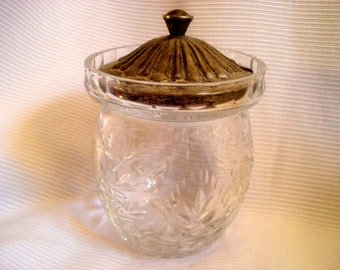 Vintage Condiment Jelly Jar with Metal Cover Cut Glass Etched Vintage