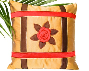 Brown Throw Pillow, Pillow Cover, Cushion Cover, Throw Pillow Cover, Brown, Camarel, Red, Flowers, Home Decor- 'Caramel Blossom'
