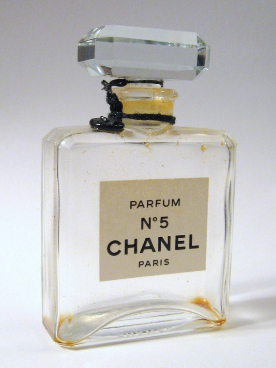 Vintage 1960s Chanel No 5 Paris French Crystal Glass Perfume
