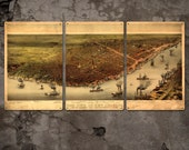 """New Orleans METAL map triptych 48x24"""" Triptych FREE SHIPPING"""