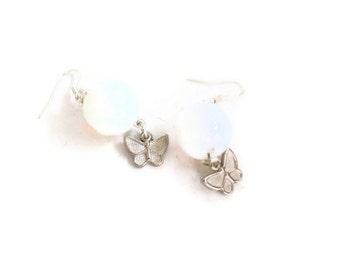 Women's earrings-women's jewelry-women's accessories-opal earrings-gemstone earrings-stoned earrings-butterfly earrings