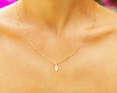 Gold necklace, Tiny heart gold necklace, small hamsa jewelry, hamsa necklace, bridesmaid necklace, everyday simple necklace