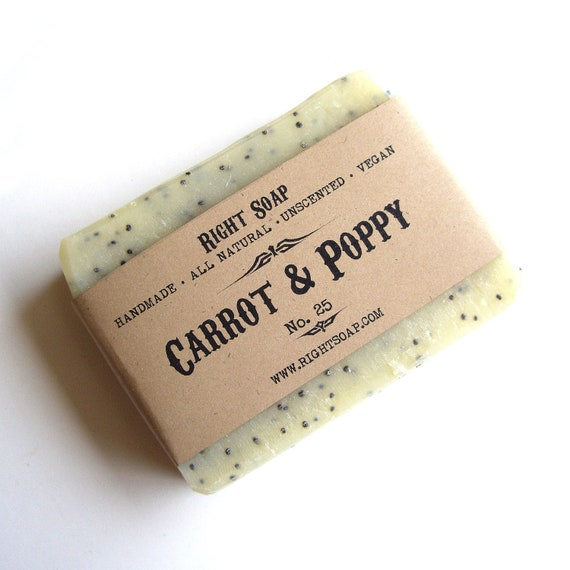 Carrot and Poppy Soap Bar, All Natural Soap, Exfoliating soap, Unscented Soap, Scrub Soap, Vegan Soap