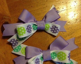Polka Dot Lavender and Green s Hair Bow - 2 inches