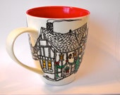 A German Christmas Hand Painted St. Nikolaus Coffee Mug