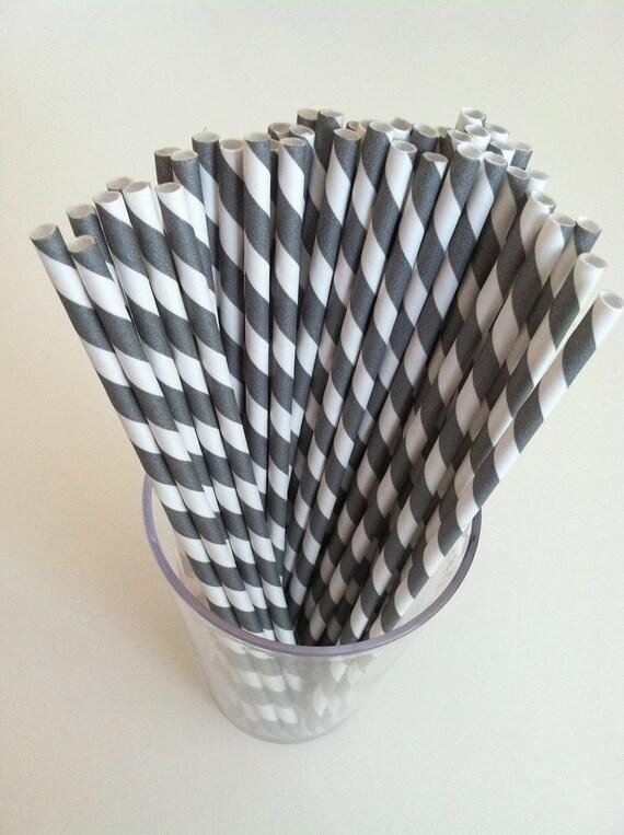 PAPER STRAWS (50 Grey & White)