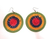 SALE: Nature inspired crochet earrings in green, yellow, blue and pink, gifts for her, colorful earrings