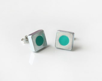 Turquoise silver square stud earrings