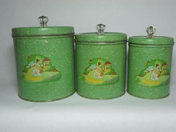 Vintage green metal cannister set decals