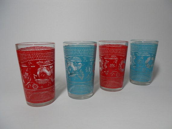 Juice glasses turquoise and red set of 4