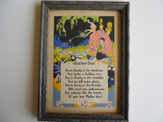 Vintage framed mother dear poem wall hanging 1930