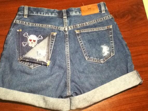 Vintage High Waisted Denim Distressed Shorts SKULL design