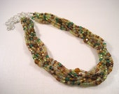 Autumn Woodlands Boho Braided Bead Necklace Fall Colors