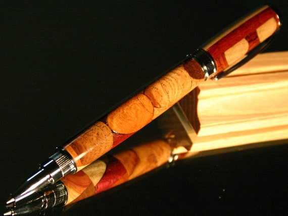 Wood Pen: Kaleidoscope wood pen with magnetic cap makes beautiful handcrafted writing instrument