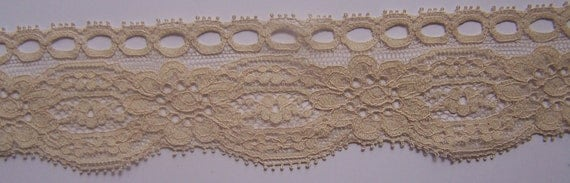 1 Yard Soft Vintage Tan Scalloped Insertion Lace 1 3/4""