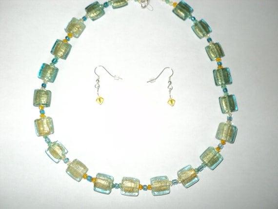 Aqua Venetian Foiled Beaded Necklace - Free Shipping - Wedding - Jewelry Set