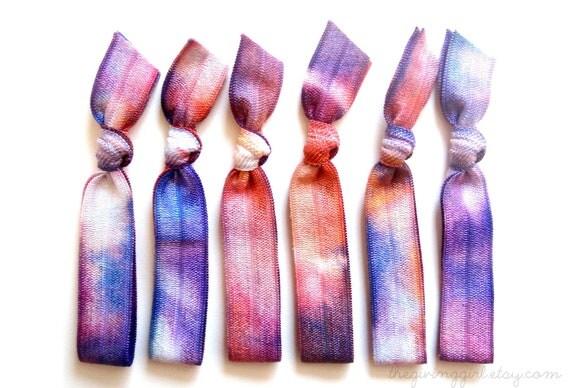Nebula Hair Ties: 5 Handmade Hair Ties, Tie Dye Colors, Elastic